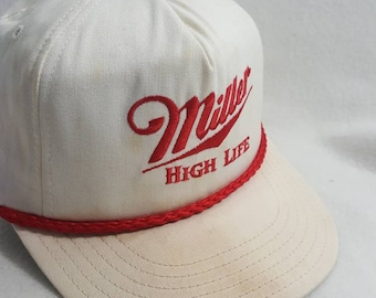 503f9e06f0fb2 Vtg Miller High Life leather strapback hat cap made in usa