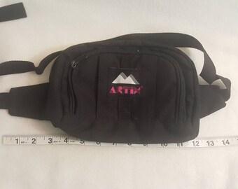 44283b6d9f3d77 Vtg Artix Black canvas Fanny Pack Waist Bag shoulder pouch