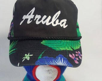 f17970cff1dd0 Vtg Aruba Floral print snapback hat 80s 90s beachwear island