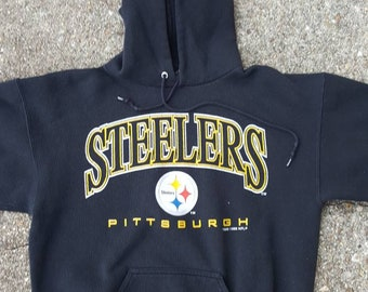 f22eace92 Vtg Pittsburgh Steelers Pullover Logo 7 Hoodie Sweatshirt sz med heavy  weight