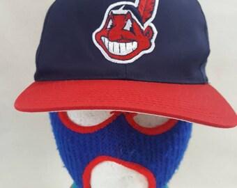 3768d9c8 Vtg Cleveland Indians 90s Chief Wahoo G Cap Grossman cap snapback hat Dope MLB  Kenny Lofton Albert Belle