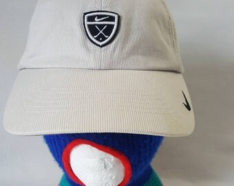 b5bc68ecbdc Vtg Nike Golf crest beige dad hat strapback hat cap