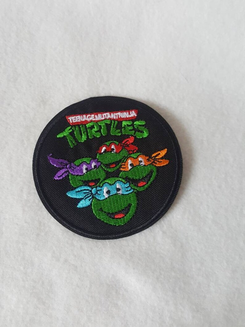L. HILL  TMNT 3 x 3 inches retro  Iron on Embroidered patch image 0