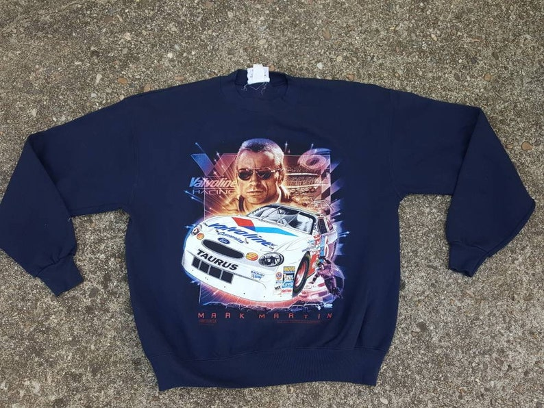 Vtg Mark Martin Valvoline Racing Sweatshirt size Large Made in image 0