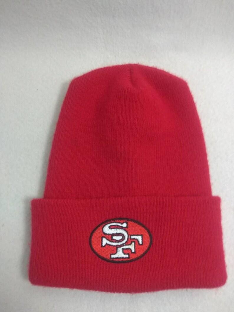 Vtg San Francisco 49ers  knit   Beanie hat Winter cap 90s image 0