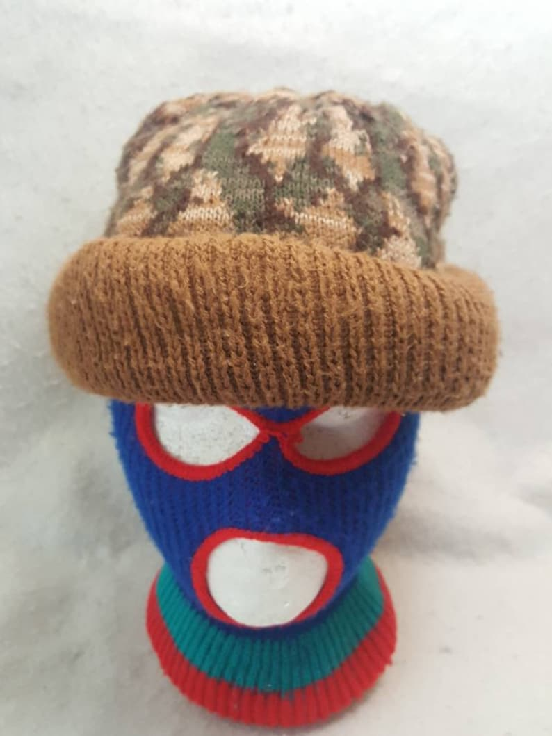 Vtg Camo Thick knit Hunting Beanie hat Winter skull cap image 0
