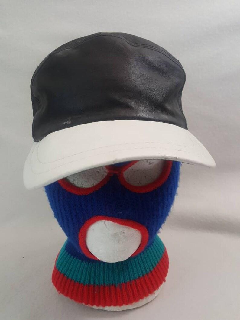 Vintage 5 panel plain  Leather Snapback hat  black hat image 0