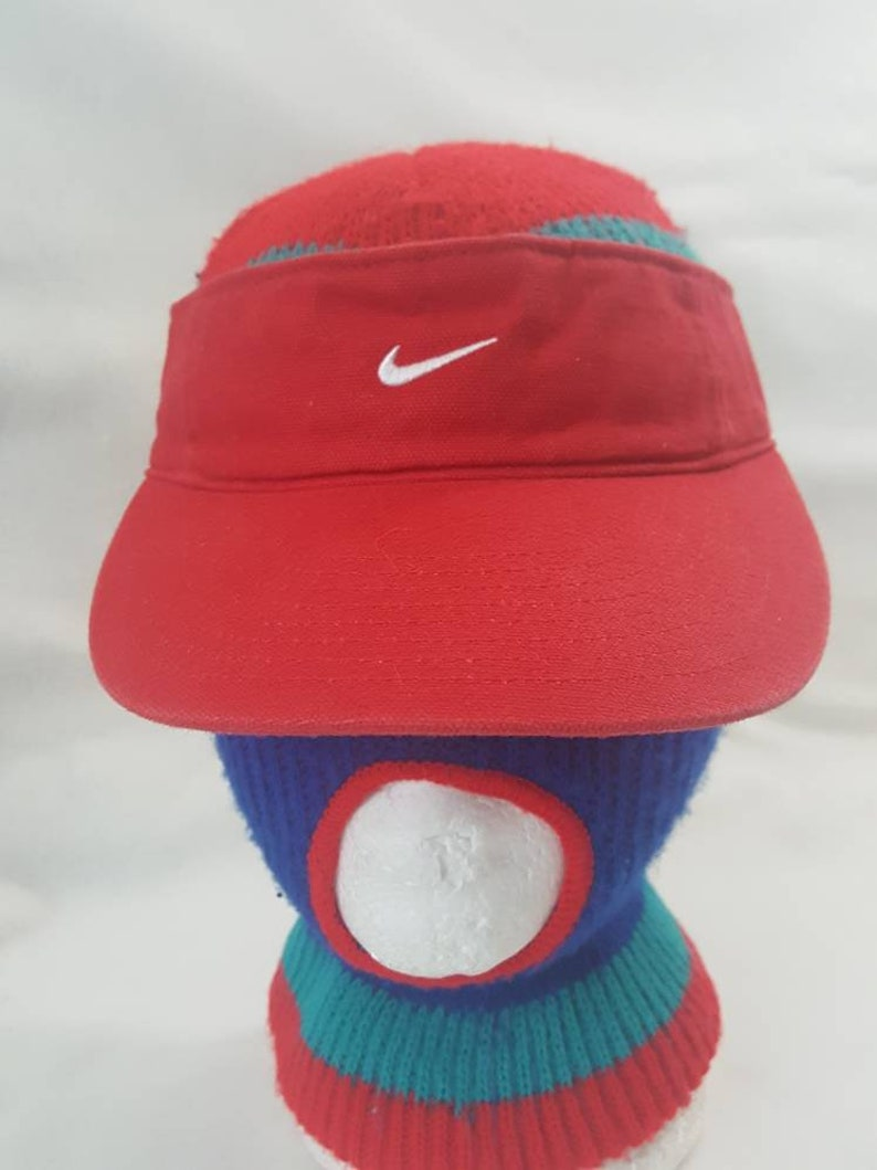 Vtg Nike Swoosh Visor hat red   white cap  3f445ca781be
