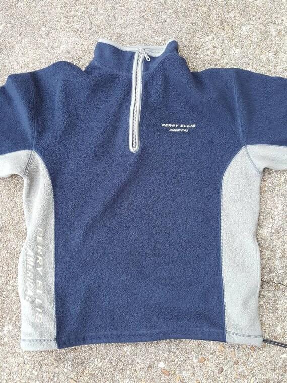 Vtg Perry Ellis America Fleece Full Zip Blue Grey Jacket Sz med