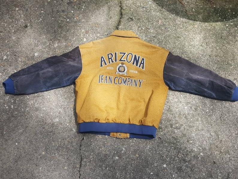 Vintage Arizona Jean Co Denim Varsity Jacket sz LG Suede image 0