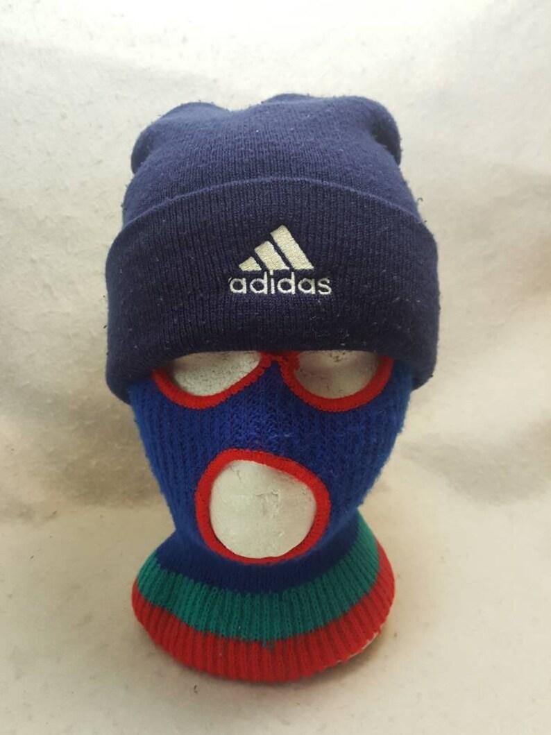 Vtg Adidas blue hat Winter cap  90s hip hop knit skullie image 0