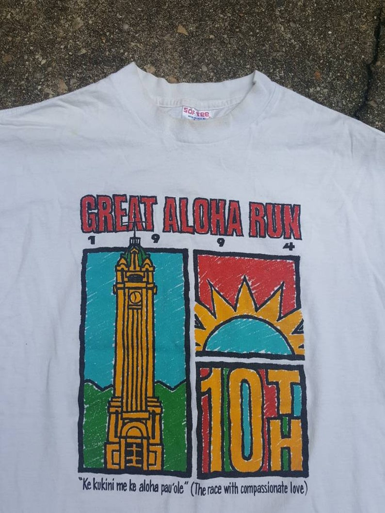 Vtg Great Aloha Run Finisher 1994 tee shirt sz XL  tee image 0