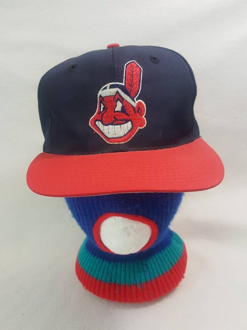 Vtg Cleveland Indians 90s Chief Wahoo twins cap snapback hat image 0