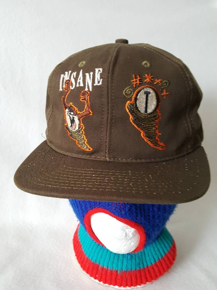 Vtg 90s Insane Taz Olive green snapback hat cap  d1ac816082e