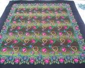 russian scarf Soviet Floral Shawl Vintage Ukrainian Romanian Wool shawl Made in Japan headscarf babushka headsquare kerchief Rare