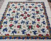 Vintage russian scarf Floral Shawl Ukrainian Romanian Wool shawl old scarf Soviet Shawl romanian style women Gift