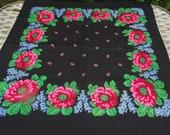 russian scarf Soviet Floral Shawl Vintage Ukrainian Romanian Wool shawl Made in Japan headscarf babushka headsquare kerchief