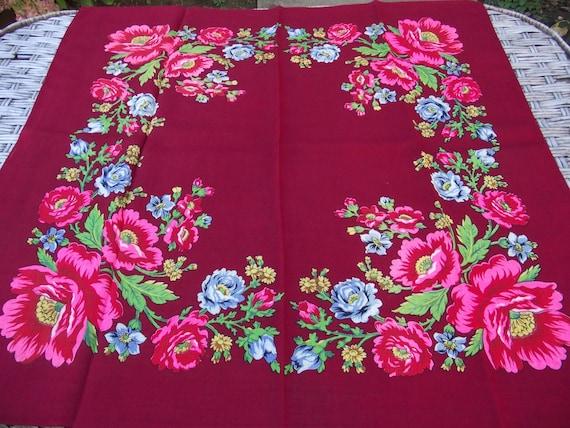 Vintage romanian wool shawl roumanie Russian Sovie