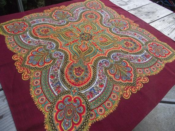 Soviet Floral Shawl Romanian shawl  Ukrainian shaw