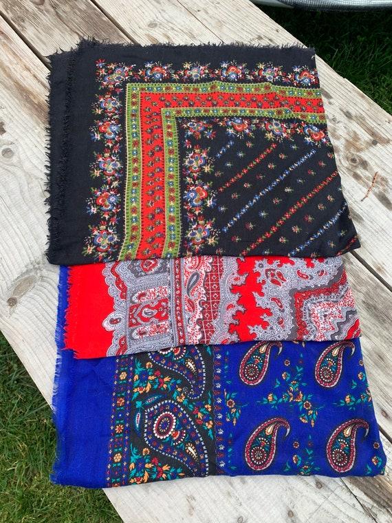 Lot of three scarves Soviet Floral Shawl Romanian