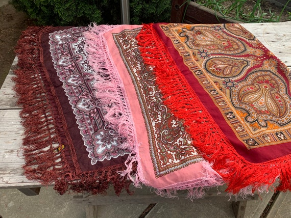 Lot of three scarves Soviet Floral Shawl Romanian