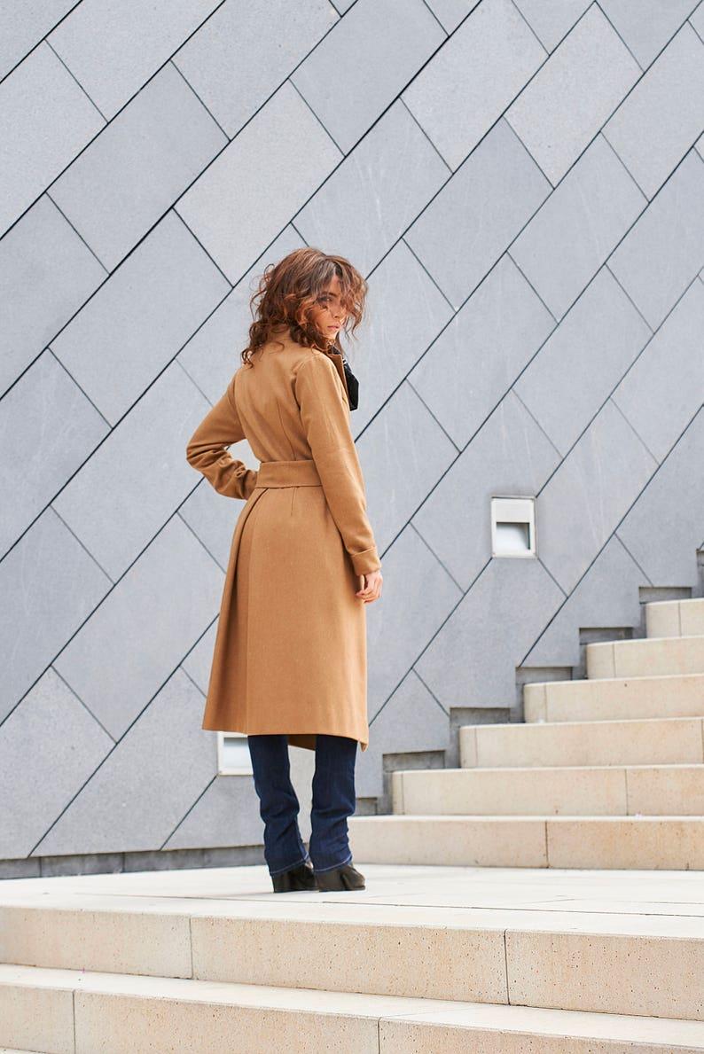 Wool Coat Long Jacket Elegant Coat Winter Coat Blazer Coat Fall Clothing Beige Coat Plus Size Coat Minimalist Jacket Trench Coat