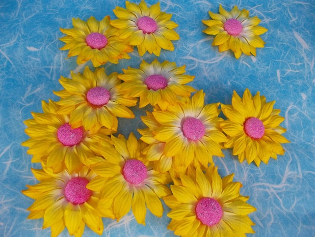 Supply 12 flowers floral yellow white green center mulberry etsy image 0 mightylinksfo