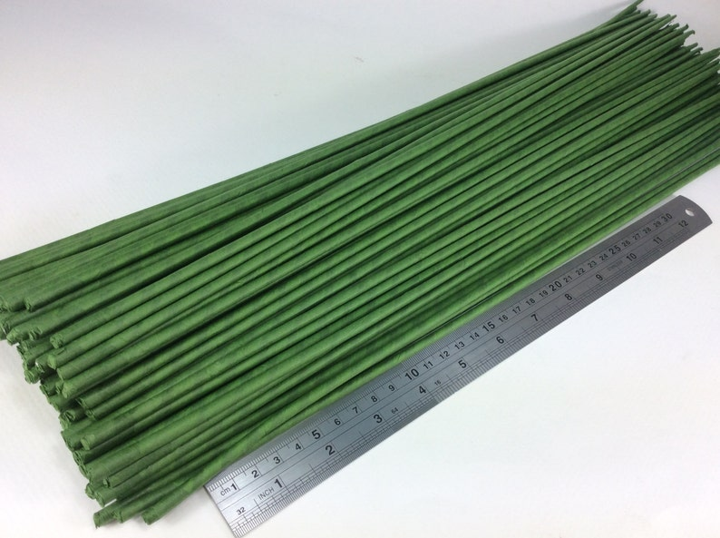 100 Stems Large Long Big Length 20 X 4 mm Floral Wire Flower Stem Artificial Floral Stem Green Wire Stems Gauge#16