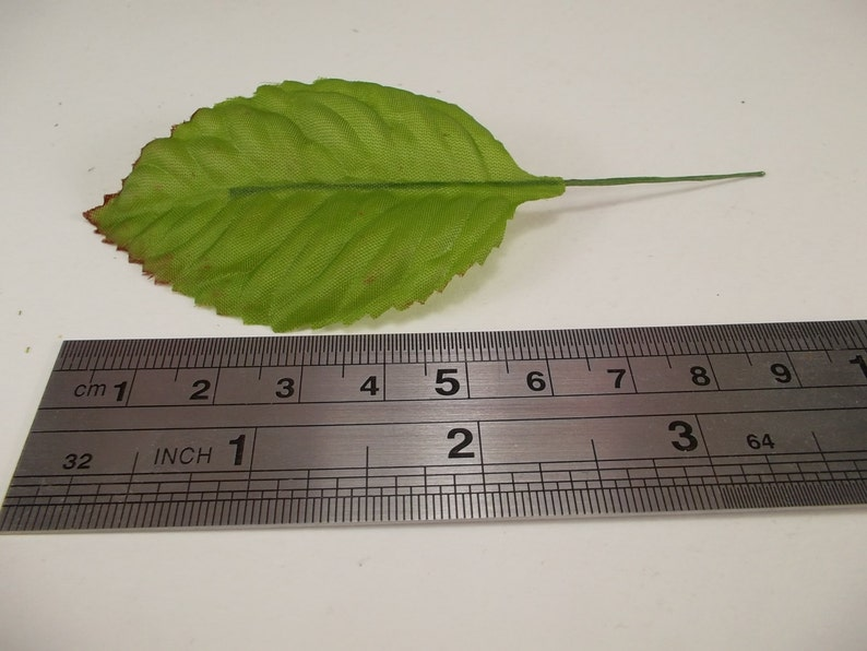 Fake Leaves Silk Green Brown Rose Leaves Fabric Artificial Leaf with Wire Stem Wedding Bouquet Make Hair Clips Headbands Hats Size#2
