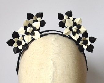 Black & White leather flower fascinator headpiece headband