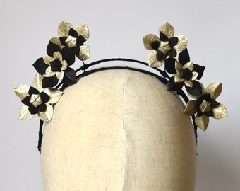 Black & Metallic Gold leather flower fascinator headpiece headband