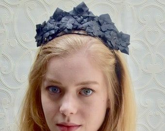 Black leather geometric crown fascinator headpiece headband e9e3898ab87