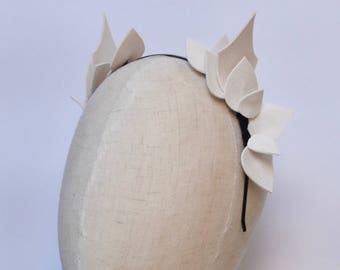 White Leaf Leather Look Headpiece / Fascinator