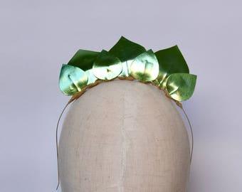 Metallic Green Leaf Leather Look Headpiece / Fascinator