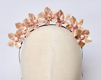 Metallic rose gold real leather flower fascinator headpiece headband