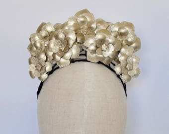 Gold leather flower fascinator headpiece headband