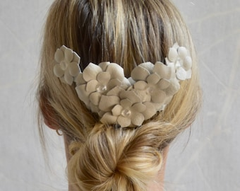 Bridal white ivory real leather flower fascinator headpiece comb