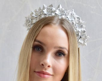 Bridal Metallic silver real leather flower fascinator headpiece headband, metal embellishment