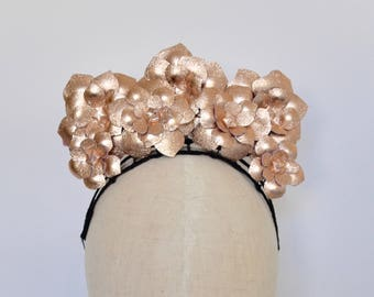 Rose gold leather flower fascinator headpiece headband