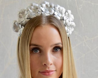 Bridal Metallic silver real leather flower fascinator headpiece headband