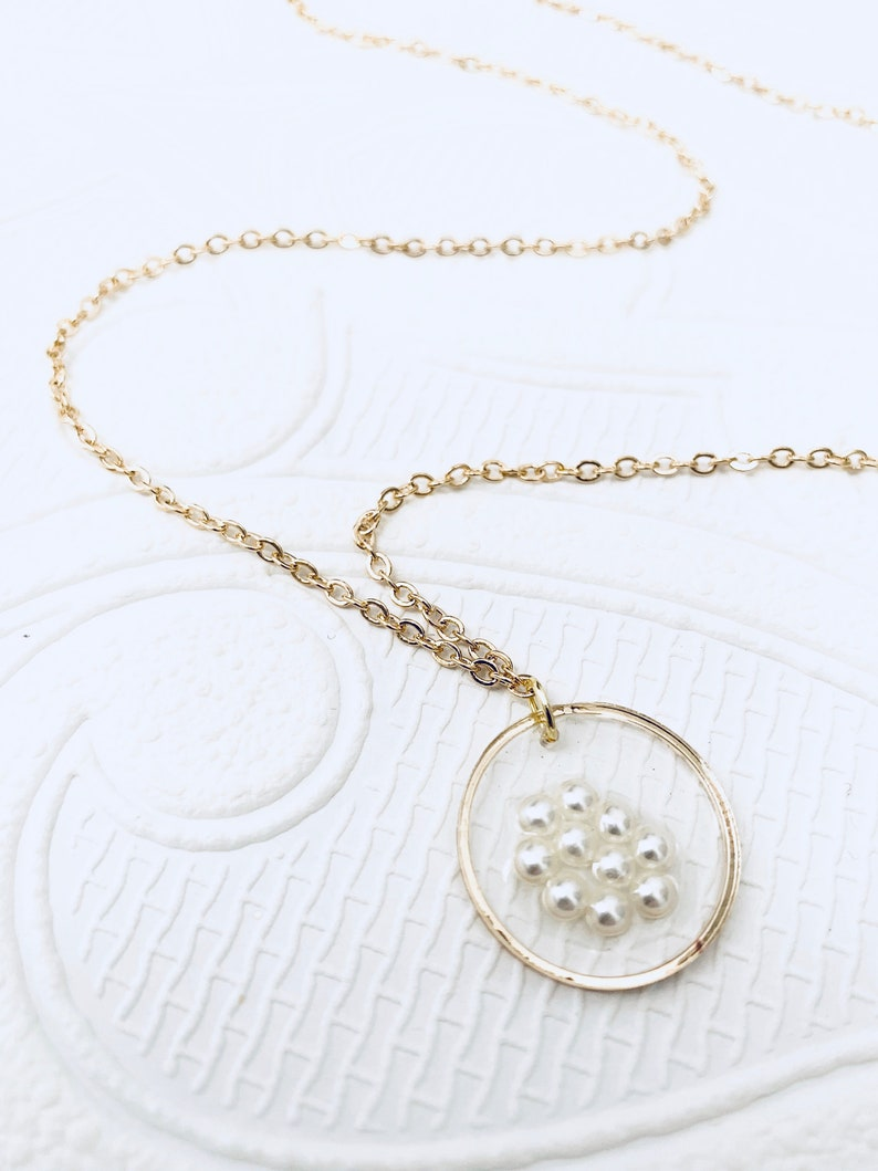 Gold Plated Pearl Resin Round Pendant Necklace