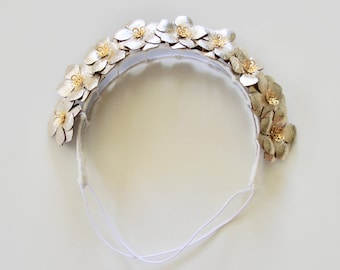 Bridal Flower Girl Metallic gold real leather flower fascinator headpiece headband