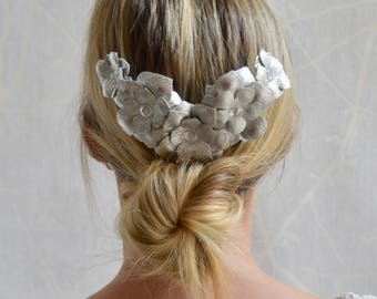 Bridal metallic silver real leather flower fascinator headpiece comb