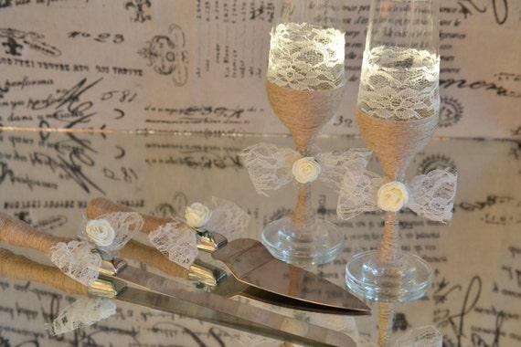 Rustic Wedding Set Toasting Glasses Cake Serving Set Etsy
