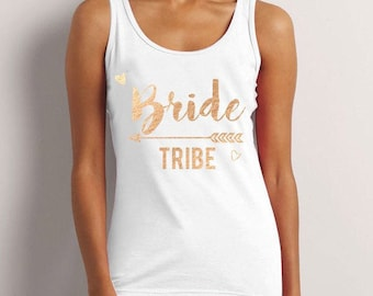 Bride Tribe, Bride To Be, Fiance, Feyonce, Wedding, Hen DO, Girls Party, Tee, T-Shirt, Top, Vest, Tank Top, Strappy Top GoldFree Shipping