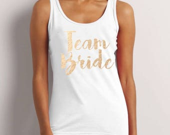Team Bride, Bride To Be, Fiance, Feyonce, Wedding, Hen DO, Girls Party, Tee, T-Shirt, Top, Vest, Tank Top, Strappy Top GoldFree Shipping