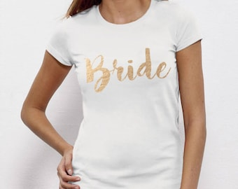 Bride, Bride To Be, Fiance, Feyonce, Wedding, Hen DO, Girls Party, Tee, T-Shirt, Top GoldFree Ship