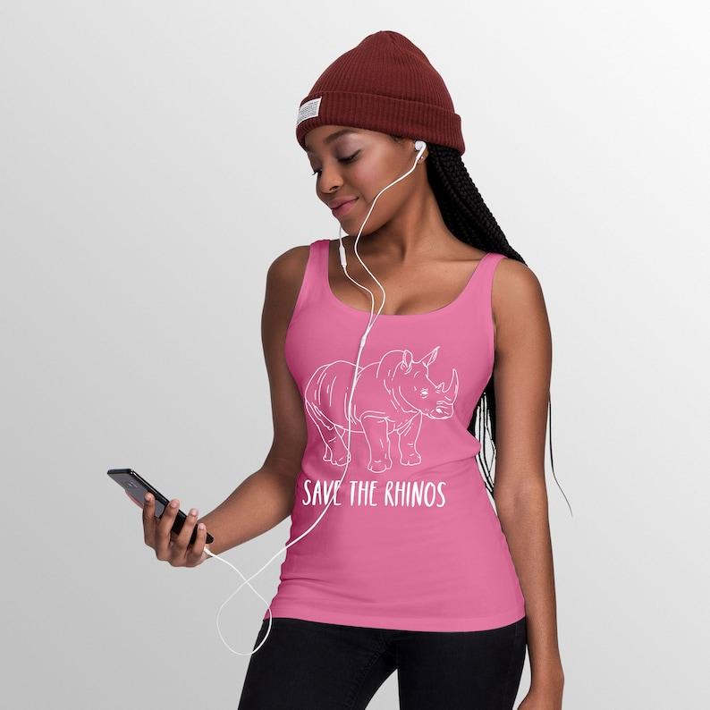Girls Tee Tank T shirt Workout Wide Strap Top Save The Rhinos Sleeveless T-Shirt Women\u2019s Tank Top Gym Ladies Vest
