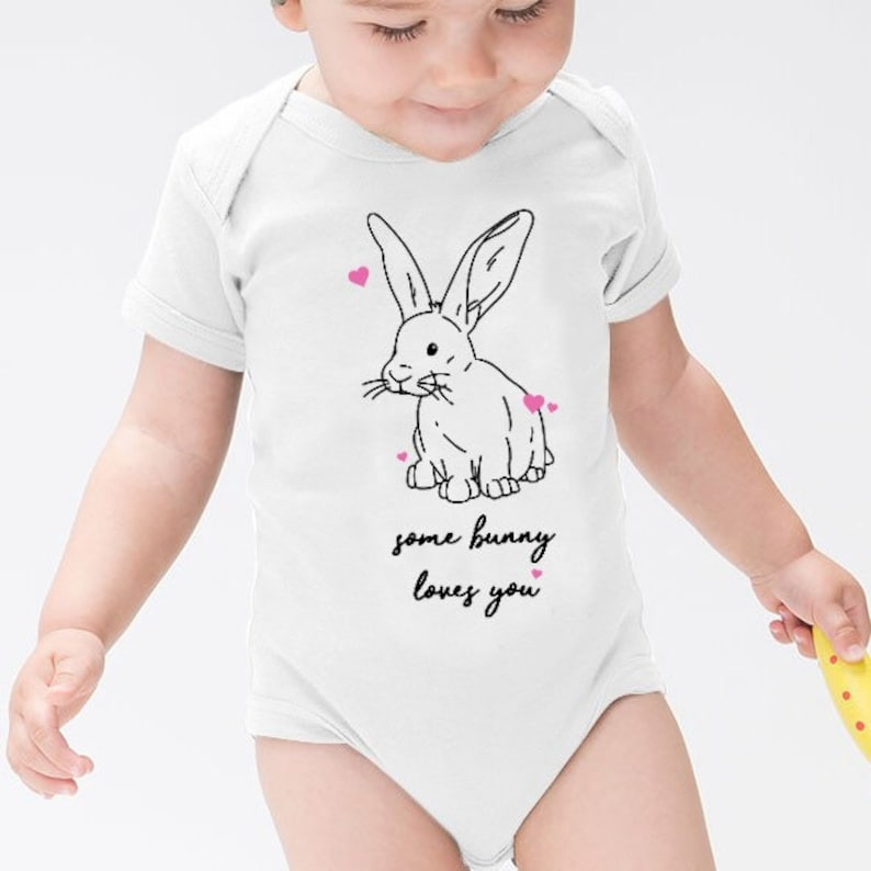 0299a095c154 Some Bunny Loves You Rabbit Mum Dad Baby Short Sleeved Onesie