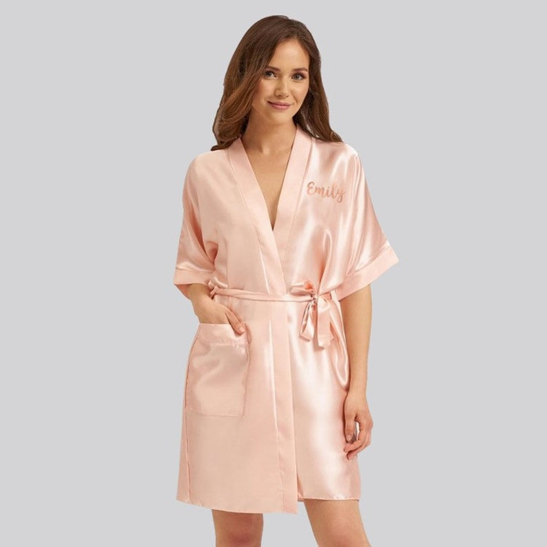 Name Bride Dressing Gown Robe Wedding Bridesmaid Maid Of Honour Honor Bride To Be Pamper Pyjamas Kimono Wrap  Satin Silk Gift Rose Gold